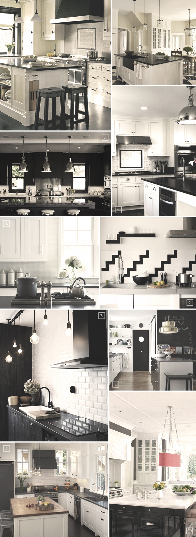 Black and white kitchen ideas and designs mood board for Black and white kitchens photos