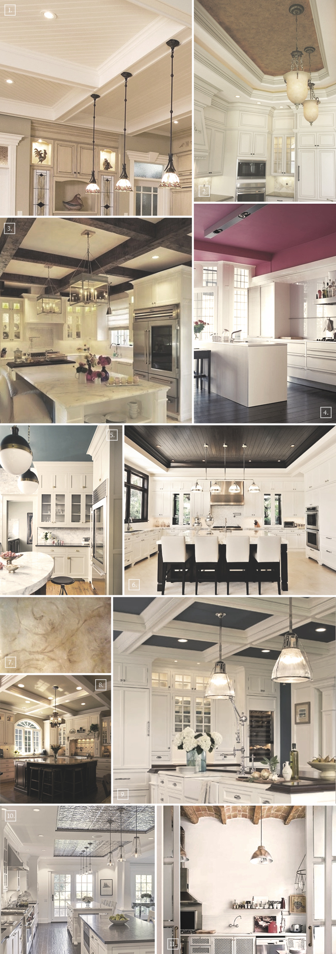 few ideas to get you inspired on what to do with your kitchen ceiling