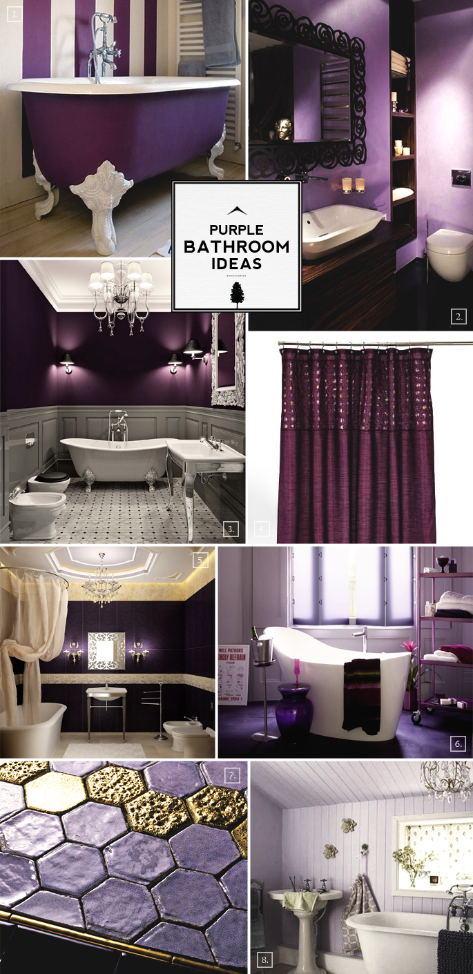 Color guide purple bathroom ideas and designs home tree for Bathroom decor purple