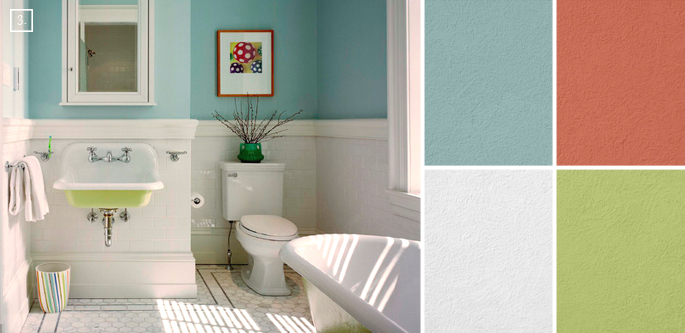 Bathroom color ideas palette and paint schemes home Bathroom wall paint designs