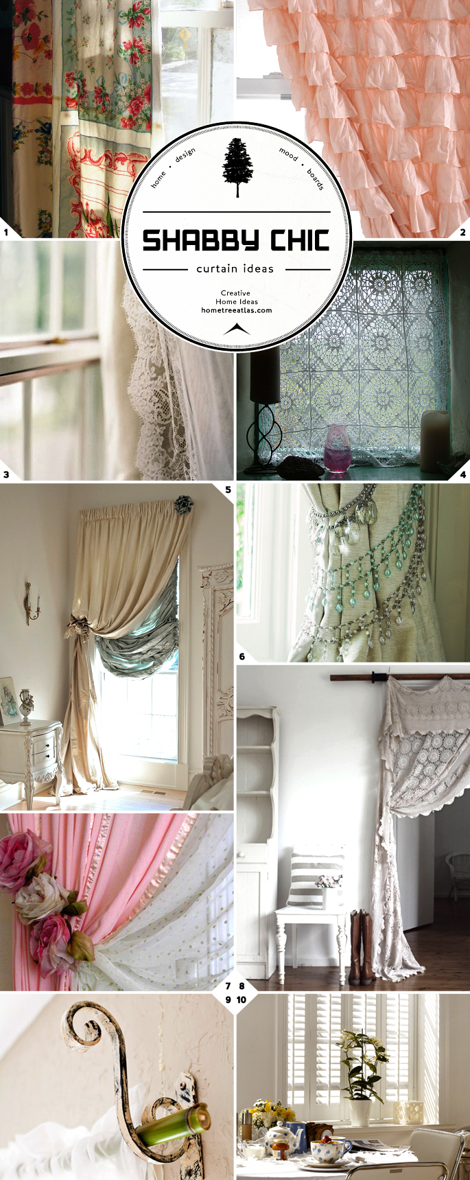 window treatment style shabby chic curtains rods and tie backs home tree atlas. Black Bedroom Furniture Sets. Home Design Ideas