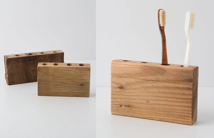 Wooden Toothbrush Holder