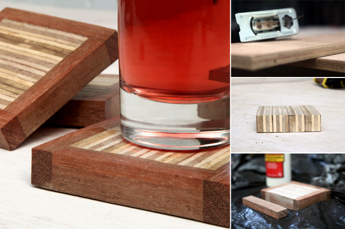 Scrap Plywood DIY Coaster Set
