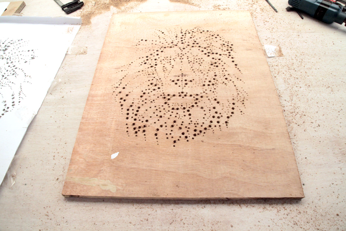 Drill and Plywood DIY Art Board - Step #3: Sanding down the plywood