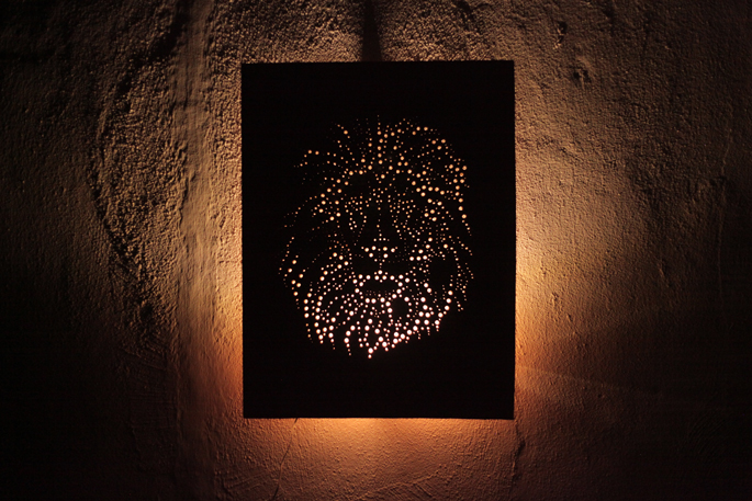 Drill and Plywood DIY Art Board - With added DIODER LED lights
