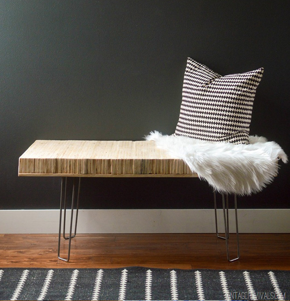 One Day Builds: 9 Simple and Easy DIY Projects Using Hairpin Legs: #1 The stacked plywood hairpin leg bench