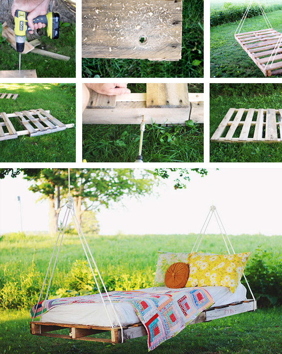 Is That a Pallet Swimming Pool? 24 DIY Pallet Outdoor Furniture Creations and Big Builds: #1 A pallet swing bed