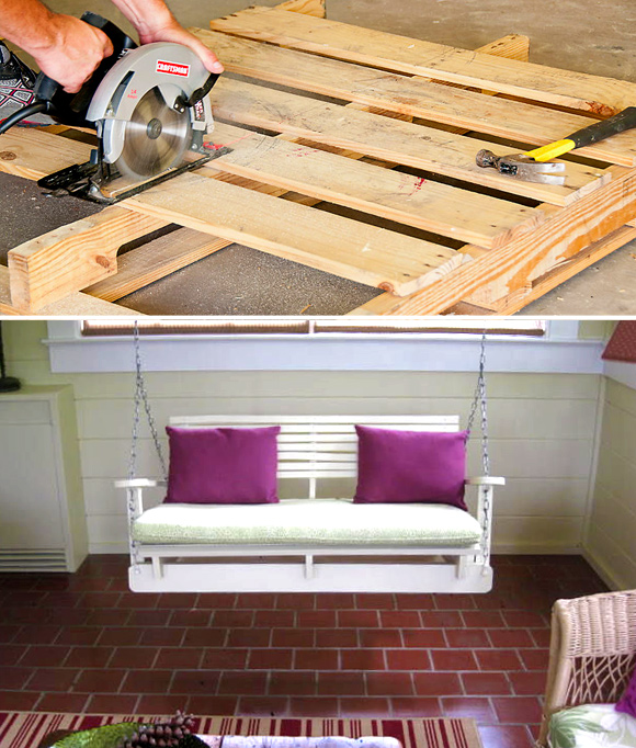 Is That a Pallet Swimming Pool? 24 DIY Pallet Outdoor Furniture Creations and Big Builds: #2 DIY swing chair