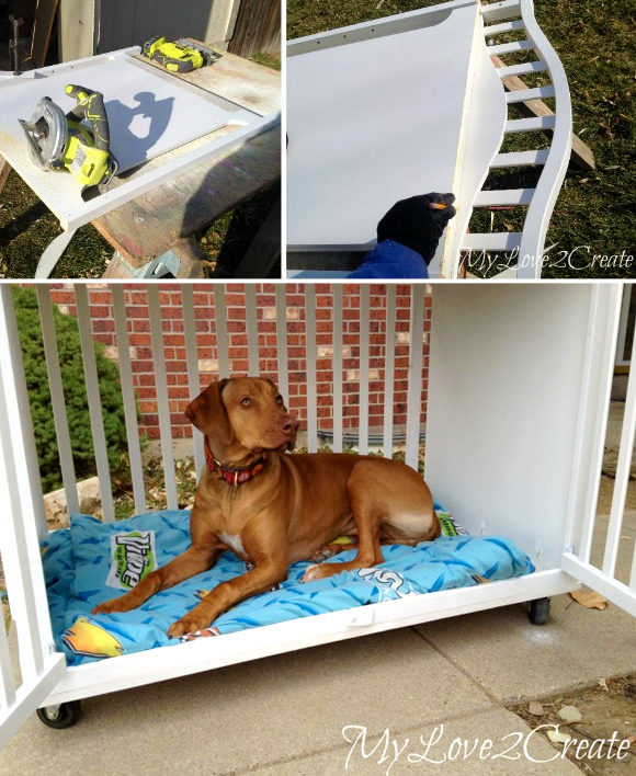Making Sleeping Arrangements: Creative Ideas for DIY Dog Beds - #3 Old crib DIY dog bed crate