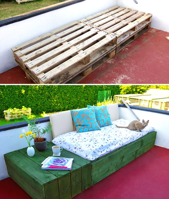 Is That a Pallet Swimming Pool? 24 DIY Pallet Outdoor Furniture Creations and Big Builds: #3 DIY daybed and side table combo