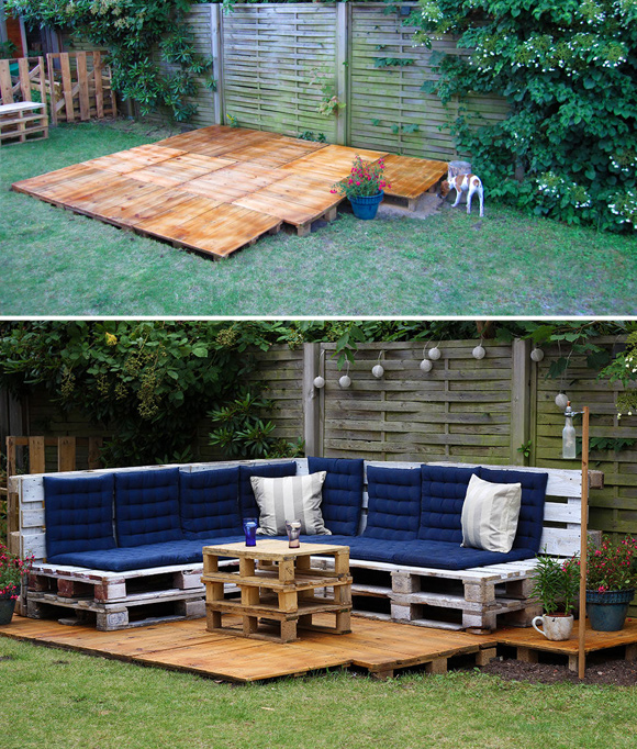 Is That a Pallet Swimming Pool? 24 DIY Pallet Outdoor Furniture Creations and Big Builds: #4 DIY outdoor seating lounge