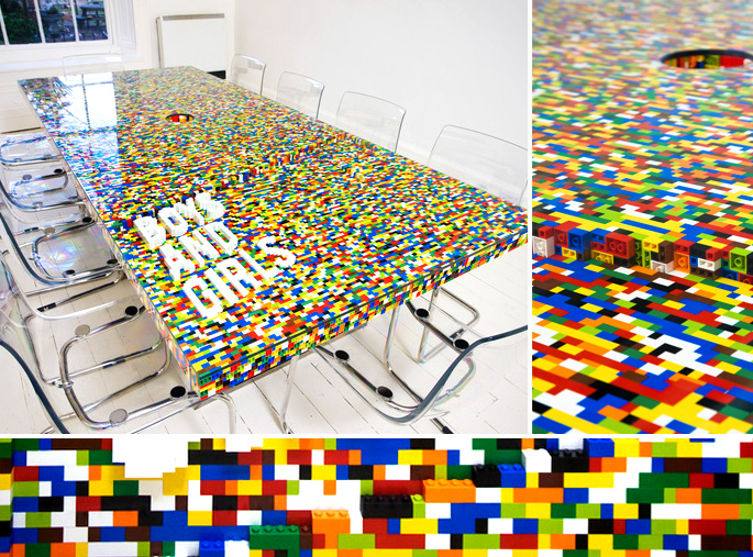 21 Insanely Cool DIY LEGO Furniture and Home Decor Creations: #5 LEGO conference table with LEGO lettering