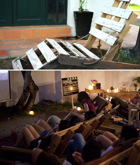 Is That a Pallet Swimming Pool? 24 DIY Pallet Outdoor Furniture Creations and Big Builds: #5 Cinema night made out of pallets
