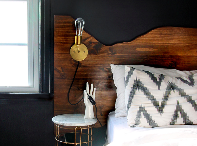 15 Ideas and Secrets For Making DIY Wooden Headboards Look Expensive #6: Faux live edge headboard