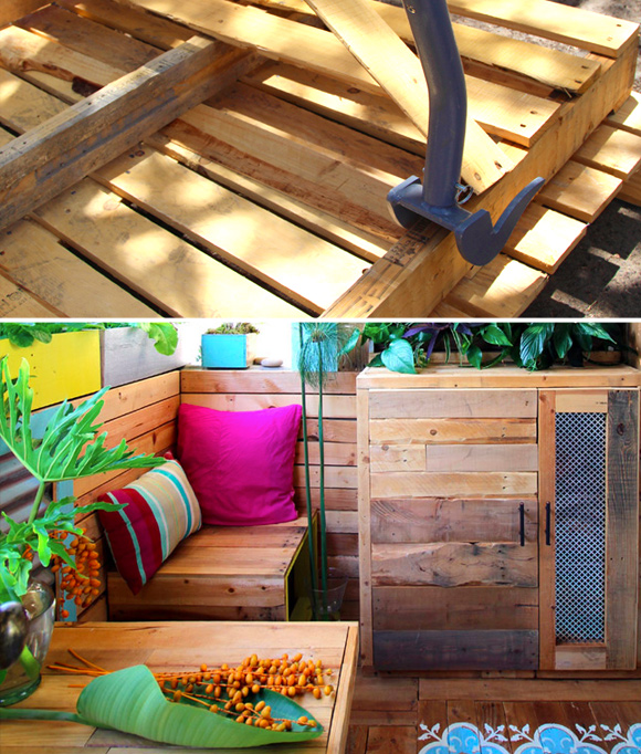 Is That a Pallet Swimming Pool? 24 DIY Pallet Outdoor Furniture Creations and Big Builds: #6 Cozy balcony lounge