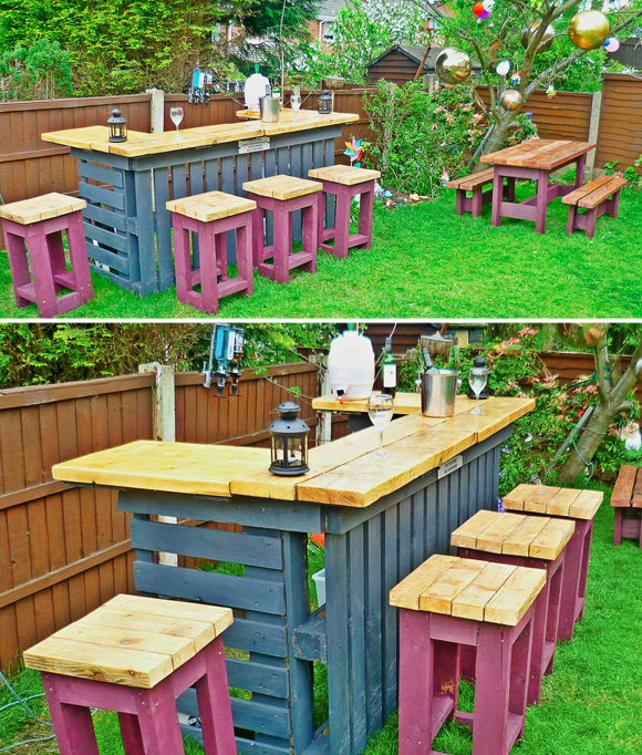Is That a Pallet Swimming Pool? 24 DIY Pallet Outdoor Furniture Creations and Big Builds: #7 Outdoor pallet bar diy