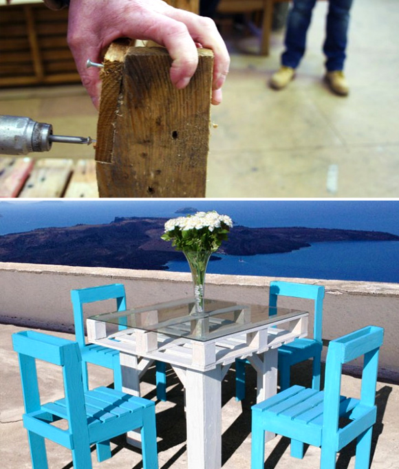 Is That a Pallet Swimming Pool? 24 DIY Pallet Outdoor Furniture Creations and Big Builds: #8 Pallet dining table set