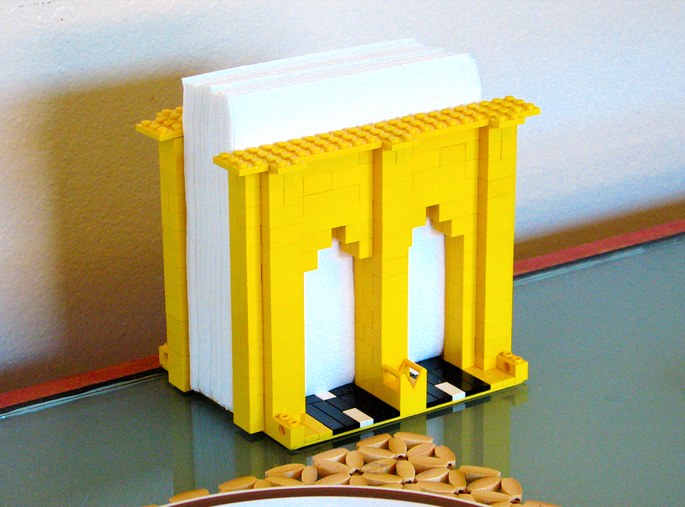 21 Insanely Cool DIY LEGO Furniture and Home Decor Creations: #10 Brooklyn Bridge napkin holder