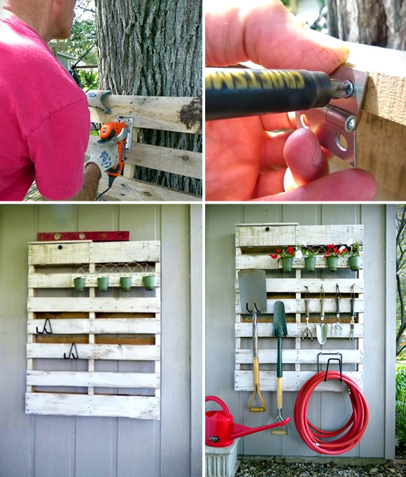 Is That a Pallet Swimming Pool? 24 DIY Pallet Outdoor Furniture Creations and Big Builds: #12 Tool storage DIY