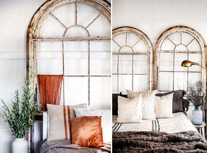 15 Ideas and Secrets For Making DIY Wooden Headboards Look Expensive #12: Using an old window