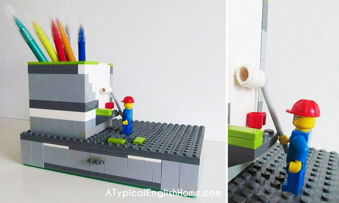 21 Insanely Cool DIY LEGO Furniture and Home Decor Creations: #14 LEGO DIY desk organizer