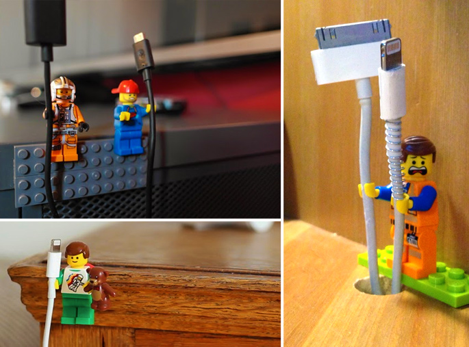 21 Insanely Cool DIY LEGO Furniture and Home Decor Creations: #16 LEGO cable organizers