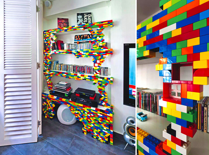 21 Insanely Cool DIY LEGO Furniture and Home Decor Creations: #20 LEGO shelf frame