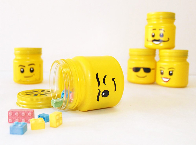 21 Insanely Cool DIY LEGO Furniture and Home Decor Creations: BONUS DIY Mason jar LEGO storage heads