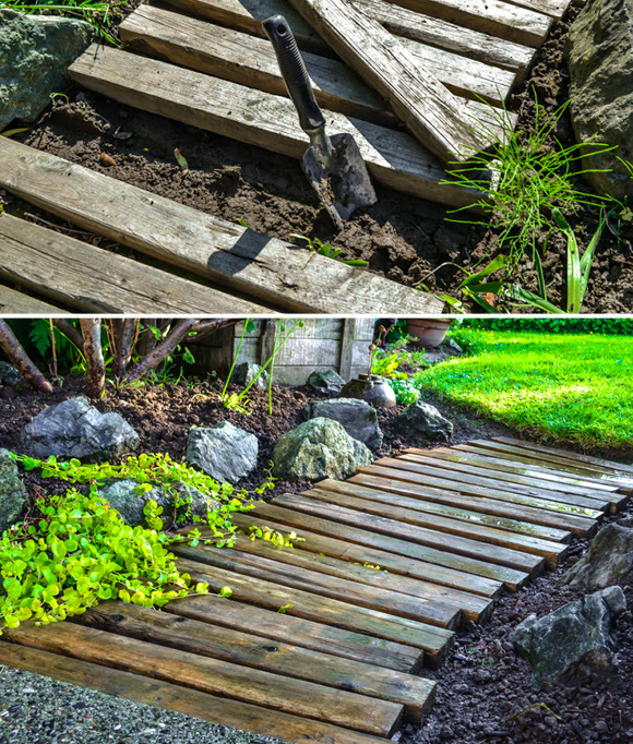 Is That a Pallet Swimming Pool? 24 DIY Pallet Outdoor Furniture Creations and Big Builds: #20 Rustic walkway path