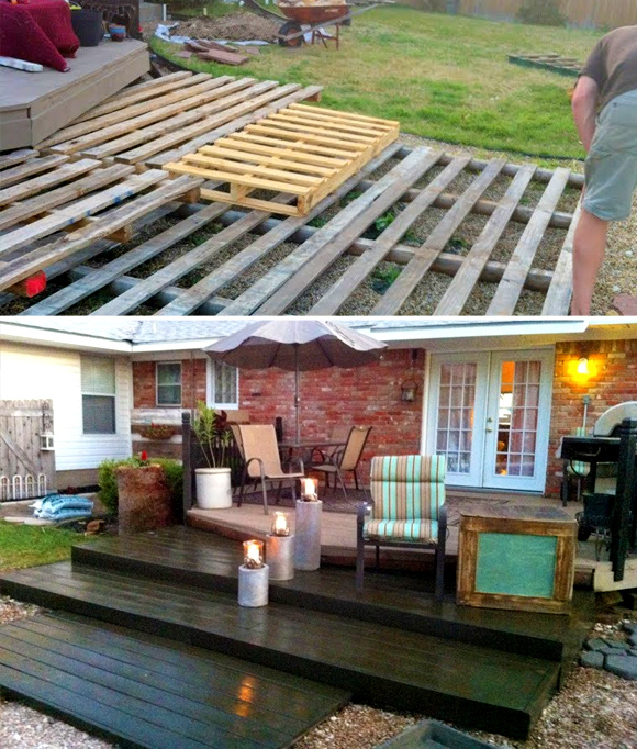 Is That a Pallet Swimming Pool? 24 DIY Pallet Outdoor Furniture Creations and Big Builds: #23 The pallet deck