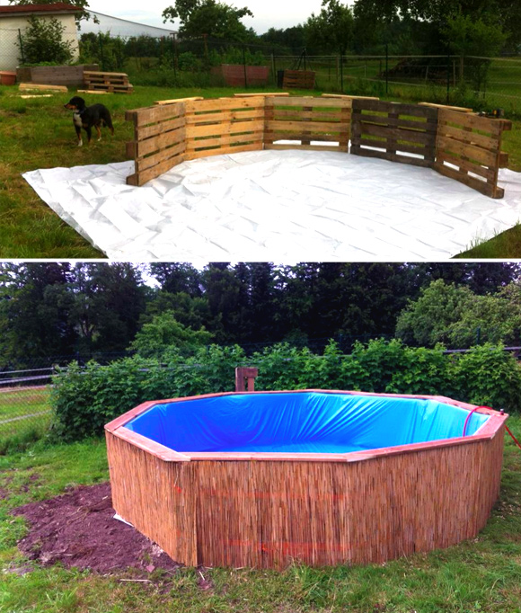 Is That a Pallet Swimming Pool? 24 DIY Pallet Outdoor Furniture Creations and Big Builds: #24 A pallet pool