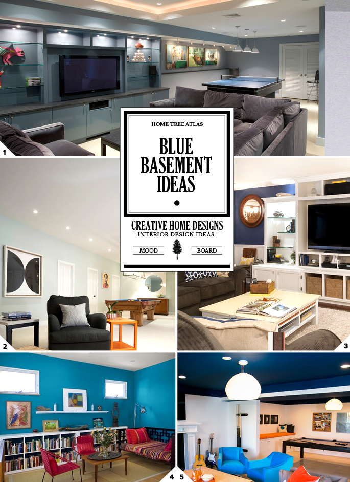 Color Guide: Blue Basement Ideas