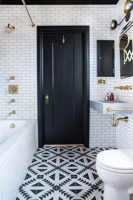 The Classic: Brass Black and White Bathroom Tour - Luxury bathroom with brass fittings and subway tiles