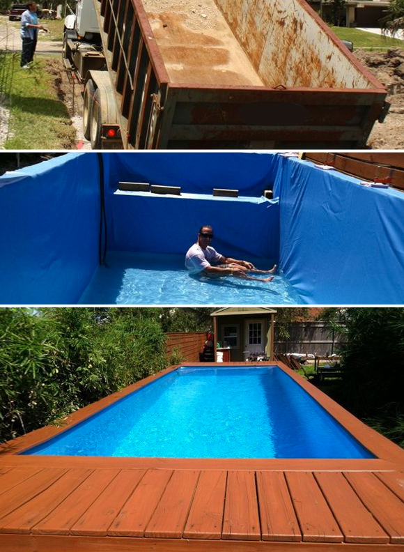 7 diy swimming pool ideas and designs from big builds to for Diy pool house plans
