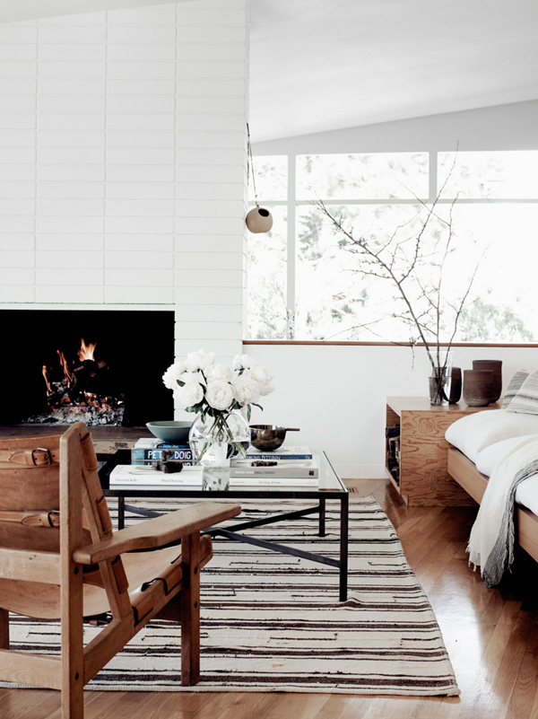 PASSPORT: Modern Rustic LA Home Tour - White and wooden living room