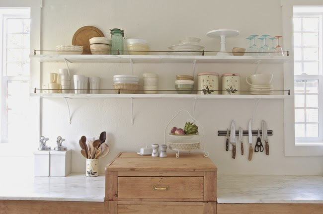 Before and After: Shabby Chic to Modern Vintage Kitchen Makeover - Wooden kitchen cabinets and marble countertops