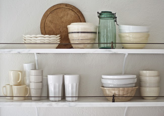 Before and After: Shabby Chic to Modern Vintage Kitchen Makeover - Open kitchen storage