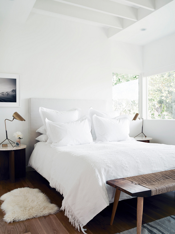 PASSPORT: Modern Rustic LA Home Tour - Modern rustic white bedroom design