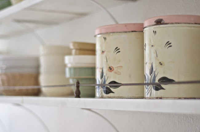 Before and After: Shabby Chic to Modern Vintage Kitchen Makeover - Vintage kitchen storage