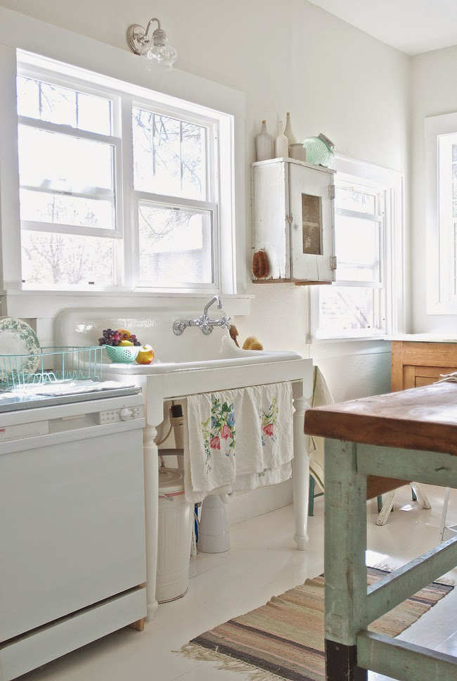 Before and After: Shabby Chic to Modern Vintage Kitchen Makeover - Vintage kitchen sink