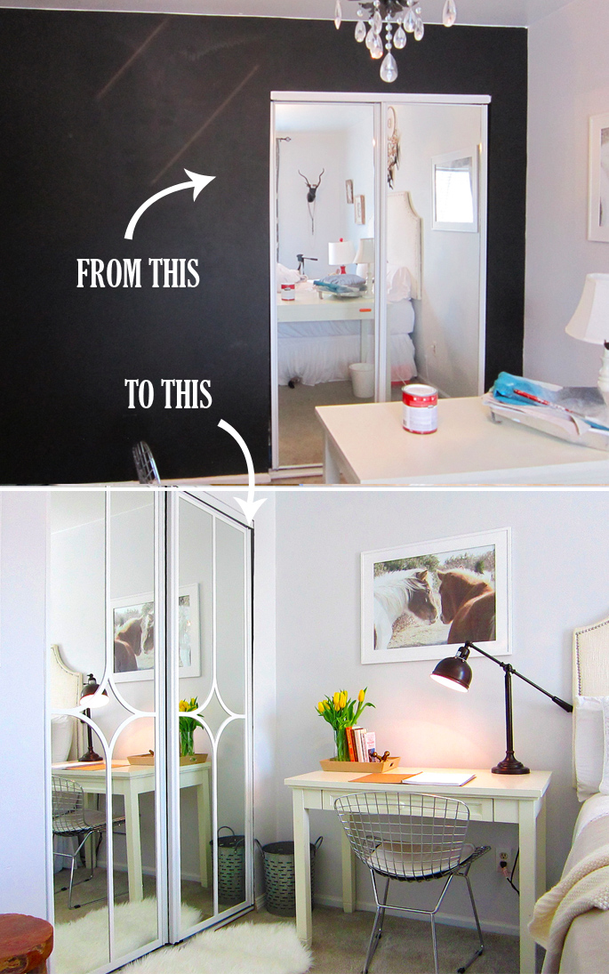 Mirror closet door makeover DIY