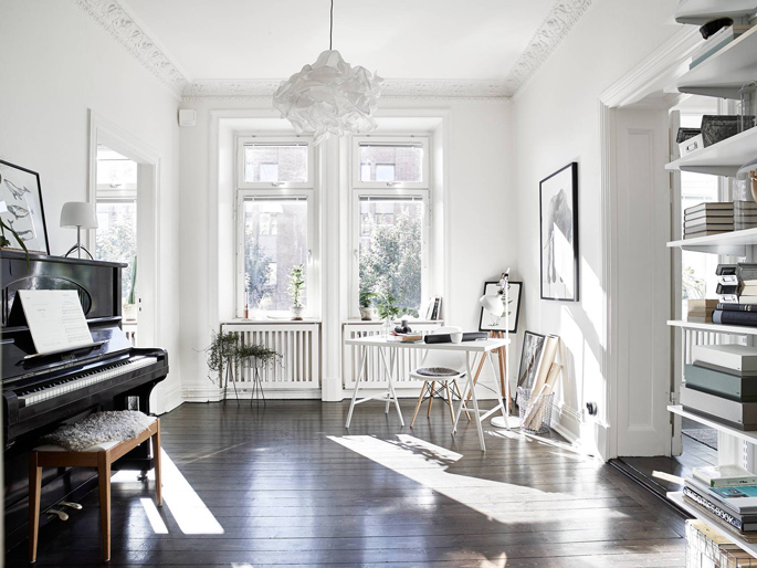 PASSPORT: Scandinavian Hardwood Floor Apartment Tour - Home office and piano room