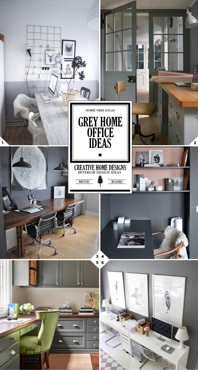 grey home office. Work In Style: Grey Home Office Ideas 7