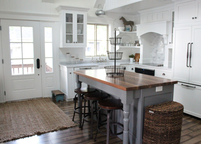 PASSPORT: Before and After Minnesota Farmhouse Cabin Renovation and Makeover Tour - Wooden countertop kitchen island