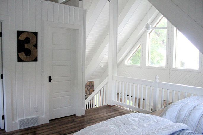 PASSPORT: Before and After Minnesota Farmhouse Cabin Renovation and Makeover Tour - The white loft space