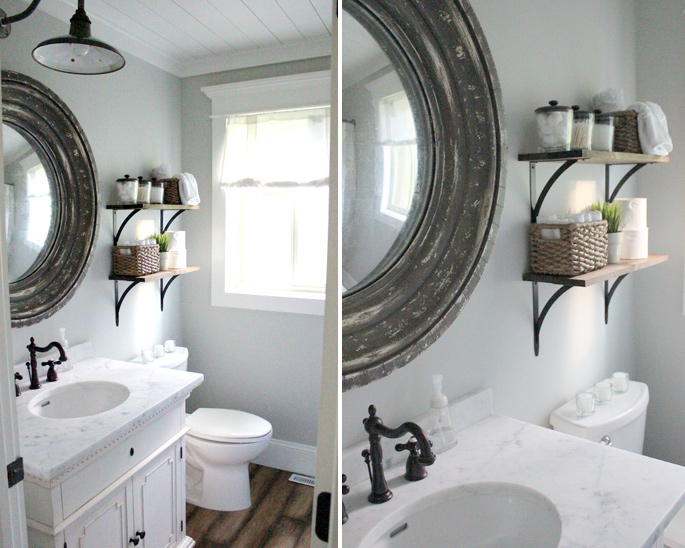 PASSPORT: Before and After Minnesota Farmhouse Cabin Renovation and Makeover Tour - Farmhouse bathroom with a gooseneck pancake light fixture