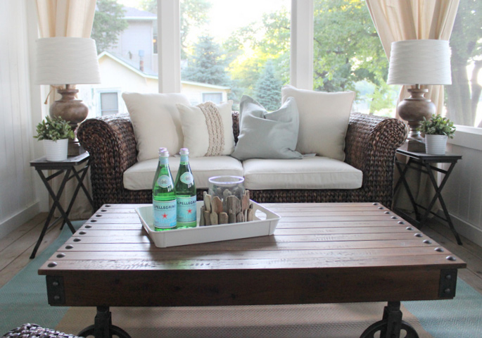 PASSPORT: Before and After Minnesota Farmhouse Cabin Renovation and Makeover Tour - Lakeside views in Minnesota and an industrial coffee table
