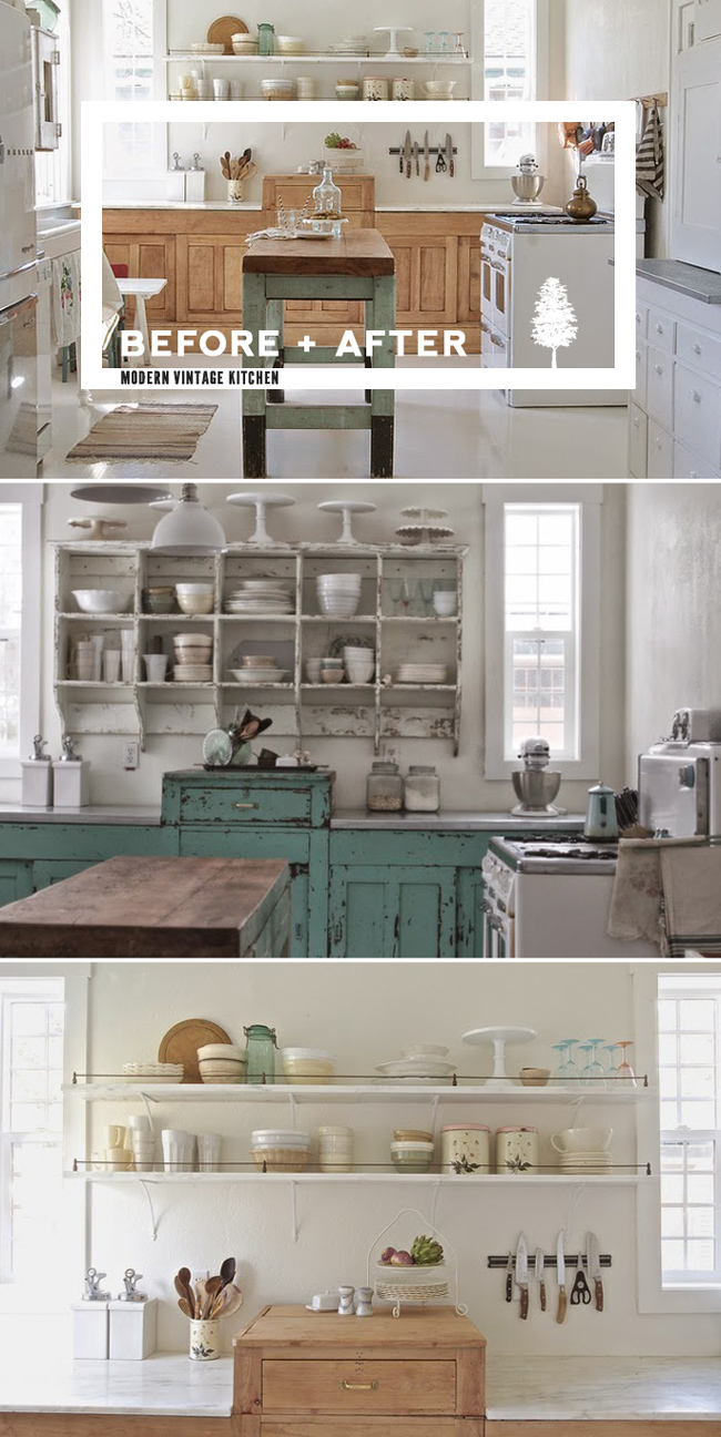 vintage kitchen furniture. Before And After: Shabby Chic To Modern Vintage Kitchen Makeover Furniture