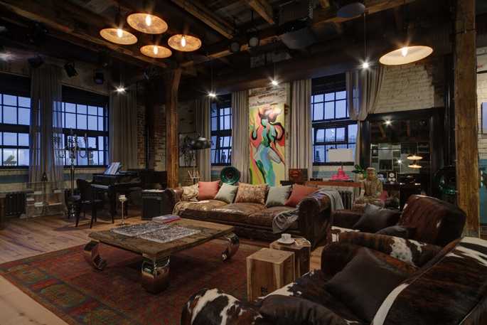 PASSPORT: Bachelor Pad Russian Loft Tour - Living Room