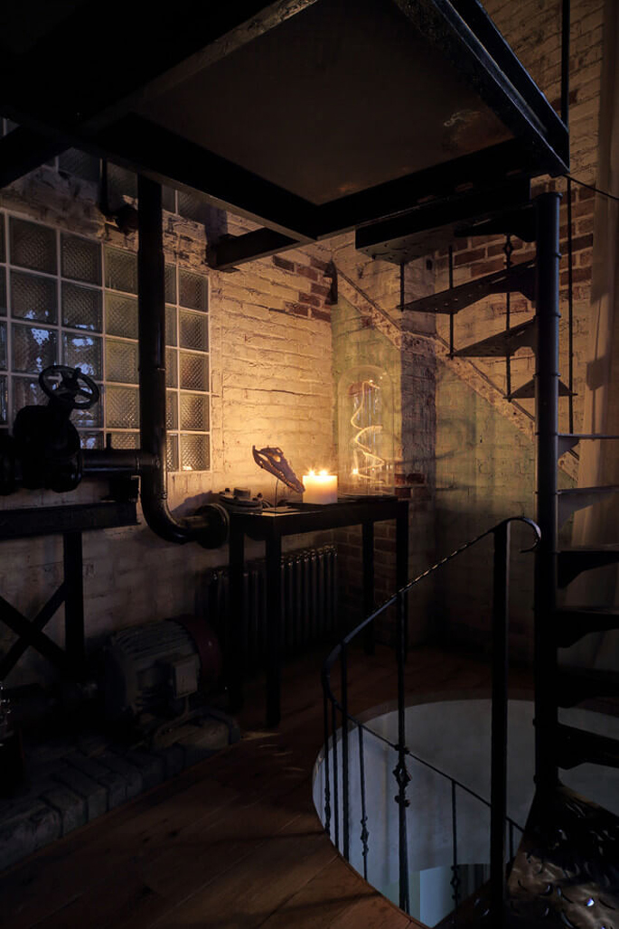 PASSPORT: Bachelor Pad Russian Loft Tour - Spiral Staircase